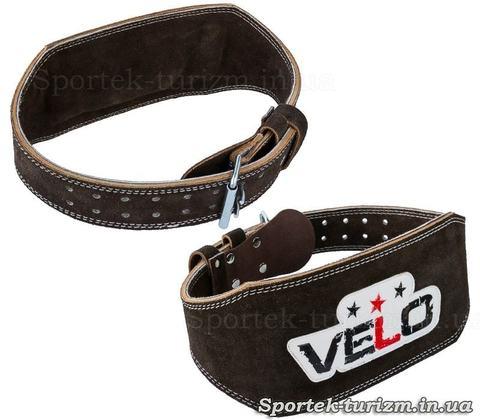 Замшевый пояс штангиста VELO с подкладкой для спины, широкая часть 15 см
