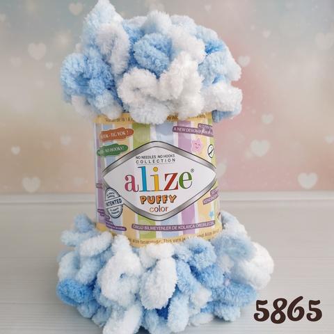 ALIZE PUFFY COLOR 5865, Белый/голубой