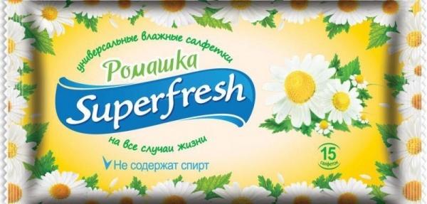 Салфетки влажные SUPER FRESH Ромашка, 15шт