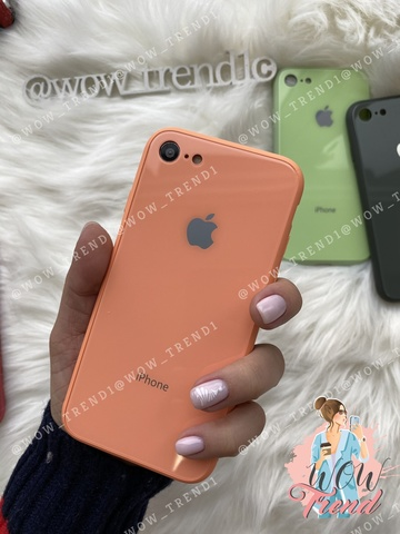 Чехол iPhone 7/8 Glass Pastel color Logo /peach/