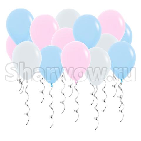 Воздушные шары под потолок Розовый и голубой макарунс