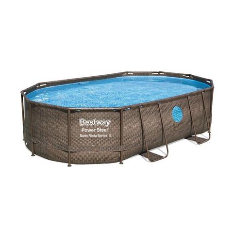 Каркасный бассейн Bestway Ротанг 56946 (488х305х107 см) с песочным фильтром, лестницей и защитным тентом / 22524