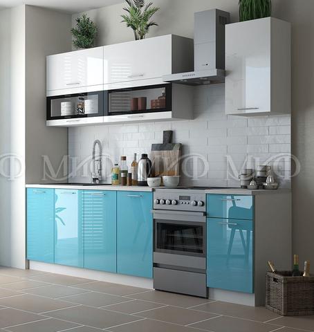 Кухня Техно New бело-бирюзовый