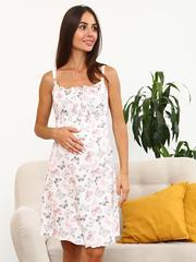 Мамаландия. Сорочка для беременных и кормящих, бабочки/молочный