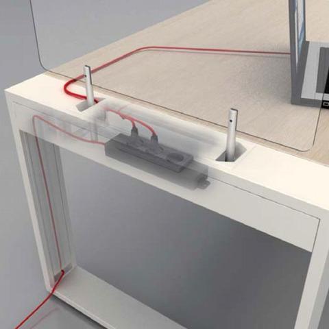 Опора для столешницы крайняя (металл) с кабель-каналом LOGIC
