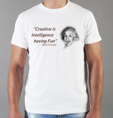 Футболка с принтом Альберт Эйнштейн (Albert Einstein) белая 0013