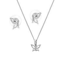 Комплект Colibra Бабочка в серебряном покрытии