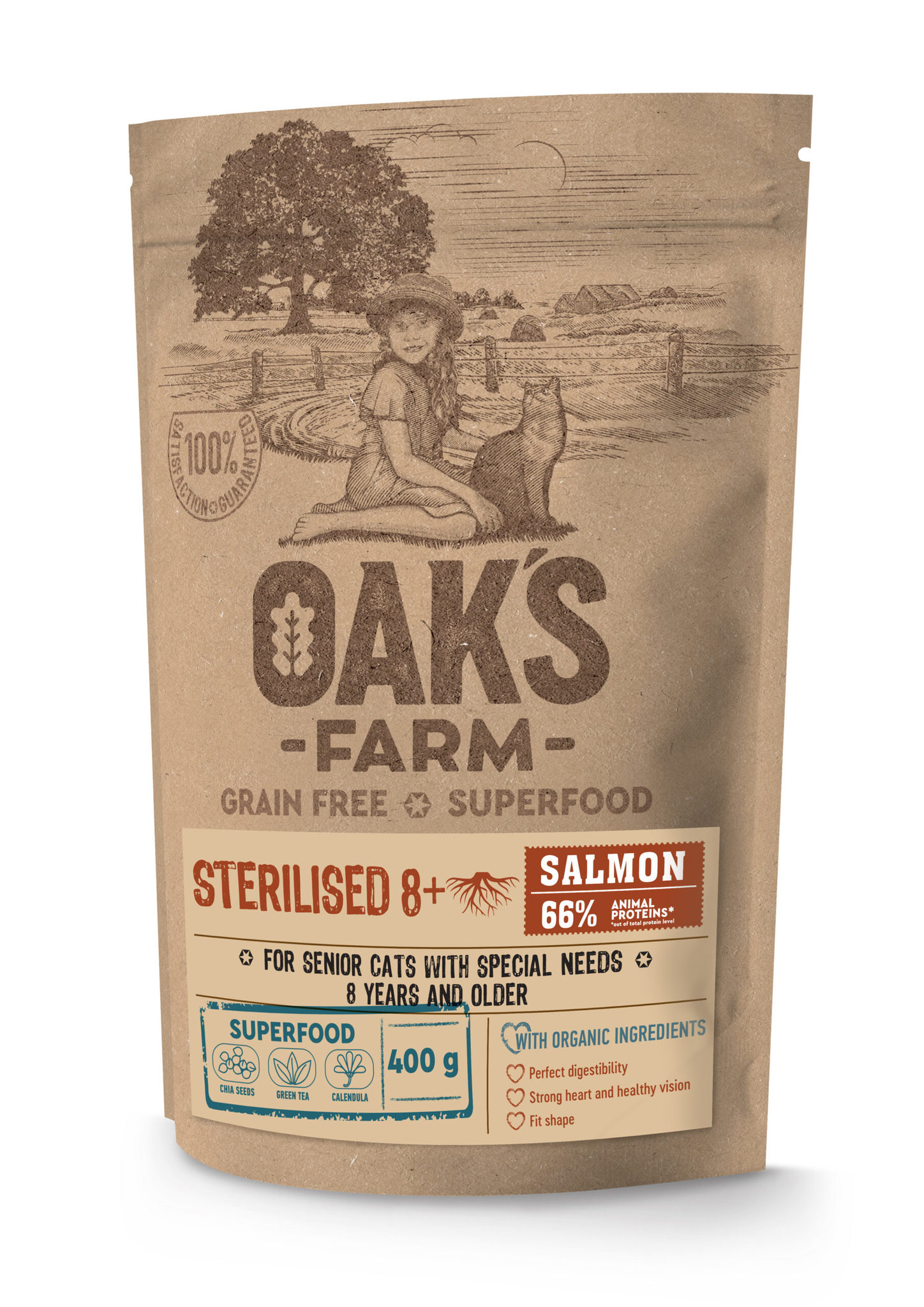 OAKS FARM GF Cat Sterilized Salmon 8+ для кошек