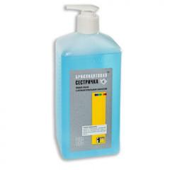 Мыло жидкое дезинфицирующее Бриллиантовая сестричка 1,0 л (с дозатором)