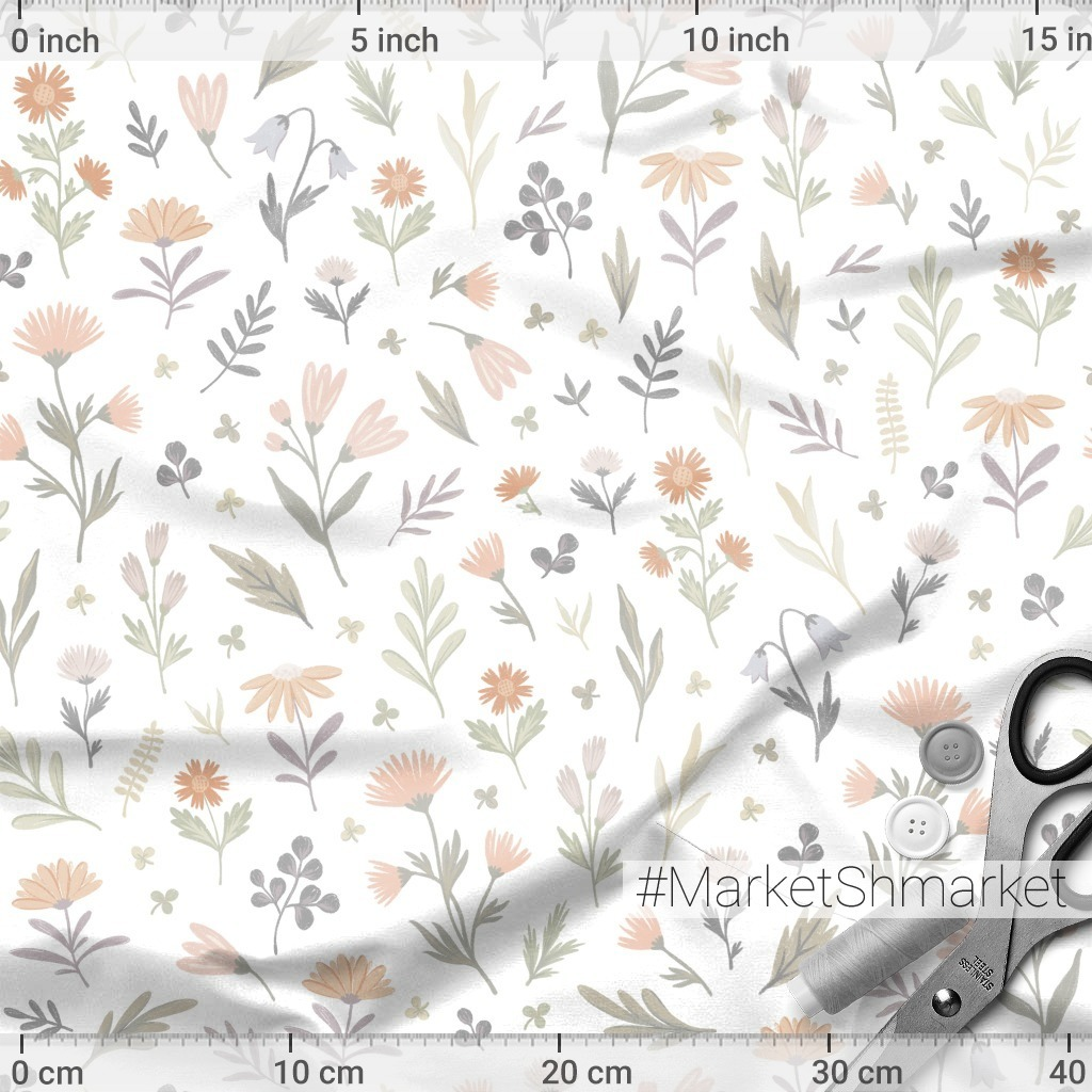 Gentle flowers and leaves. Нежные цветочки в пастельных тонах