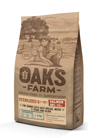 Купить OAKS FARM GF Cat Sterilized Salmon 8+