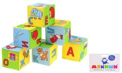 """Набор развивающих мягких кубиков """"Азбука в картинках"""", 6 штук"""