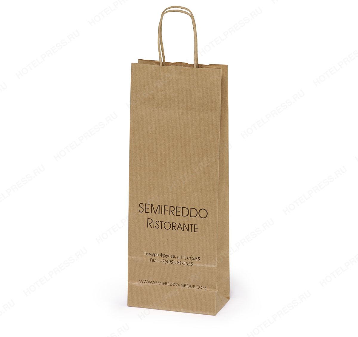 Крафтовый пакет под бутылку ресторана SEMIFREDDO