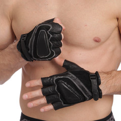 Перчатки для кроссфита и воркаута кожаные SPORT L-XL