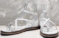 Мягкие сандалии босоножки на один палец женские Evromoda 454-402 White.