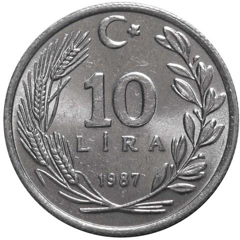 10 лир. Турция. 1987 год. UNC