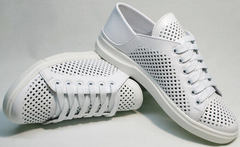 Женские кожаные спортивные туфли кеды летние женские ZiKo KPP2 Wite.