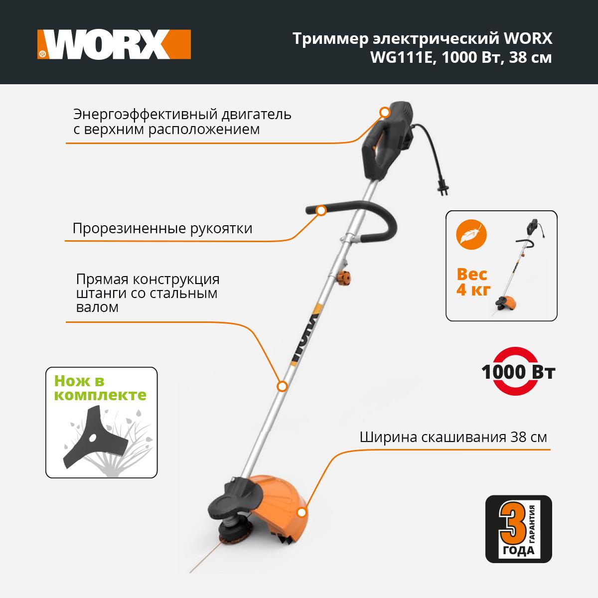 Тример электрический WORX WG111E 1000Вт