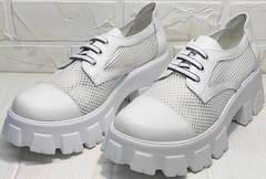 Обувь на высокой платформе. Красивые босоножки туфли на шнуровке женские летние Gold Deer 157-963 White.