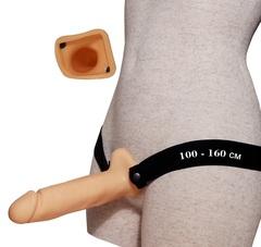 Фаллопротез с полостью № 1 на резинке размера XXL - 18,5 см. -