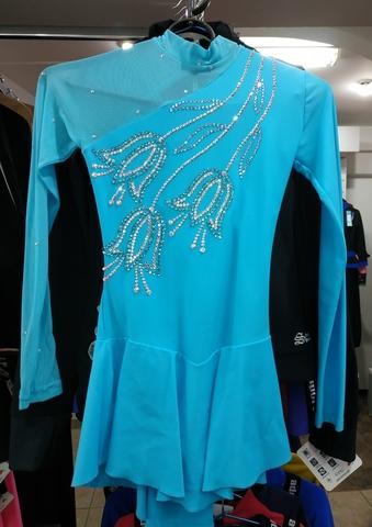Платье голубое со стразами б/у, рост 140 см + перчатки