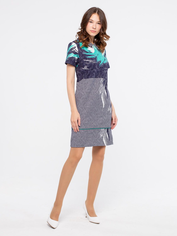 Платье З090-315 - Платье-футляр приталенного силуэта из жаккардового хлопка. Благодаря эластичной ткани и выверенным лекалам, платье отлично сидит на фигуре любого типа.