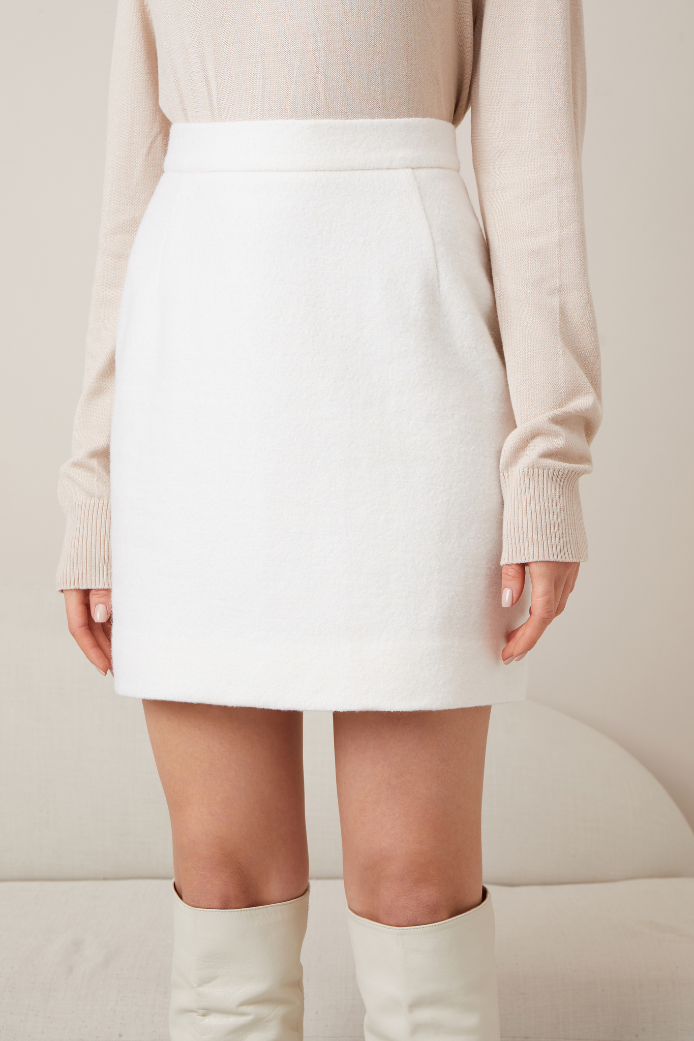 Теплая мини-юбка без пояса (айвори)