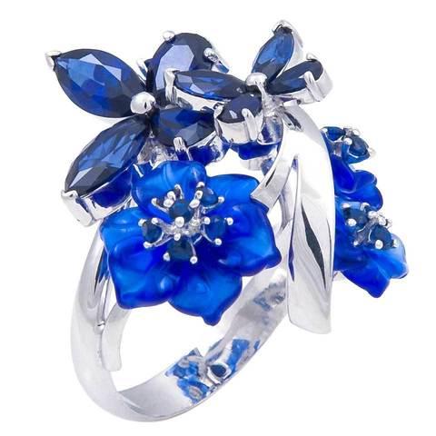 Кольцо с цветами из кварца и сапфиром Арт. 1180сс
