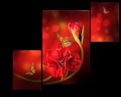 "Модульная картина ""Бабочка на красном цветке"""