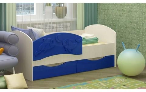 Детская кровать Дельфин-3 МДФ темно-синий, 80х160