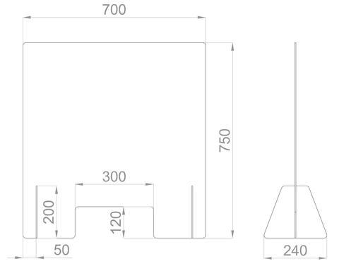 Настольный экран с окном Ш.700мм, В.600/750мм