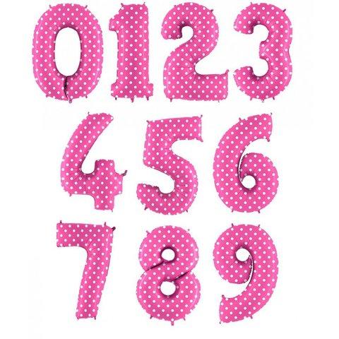 Фольгированная цифра Горошек на розовом 101 см.