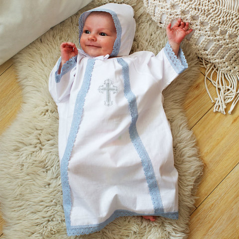 Папитто. Набор крестильный для мальчика с голубым кружевом, белый