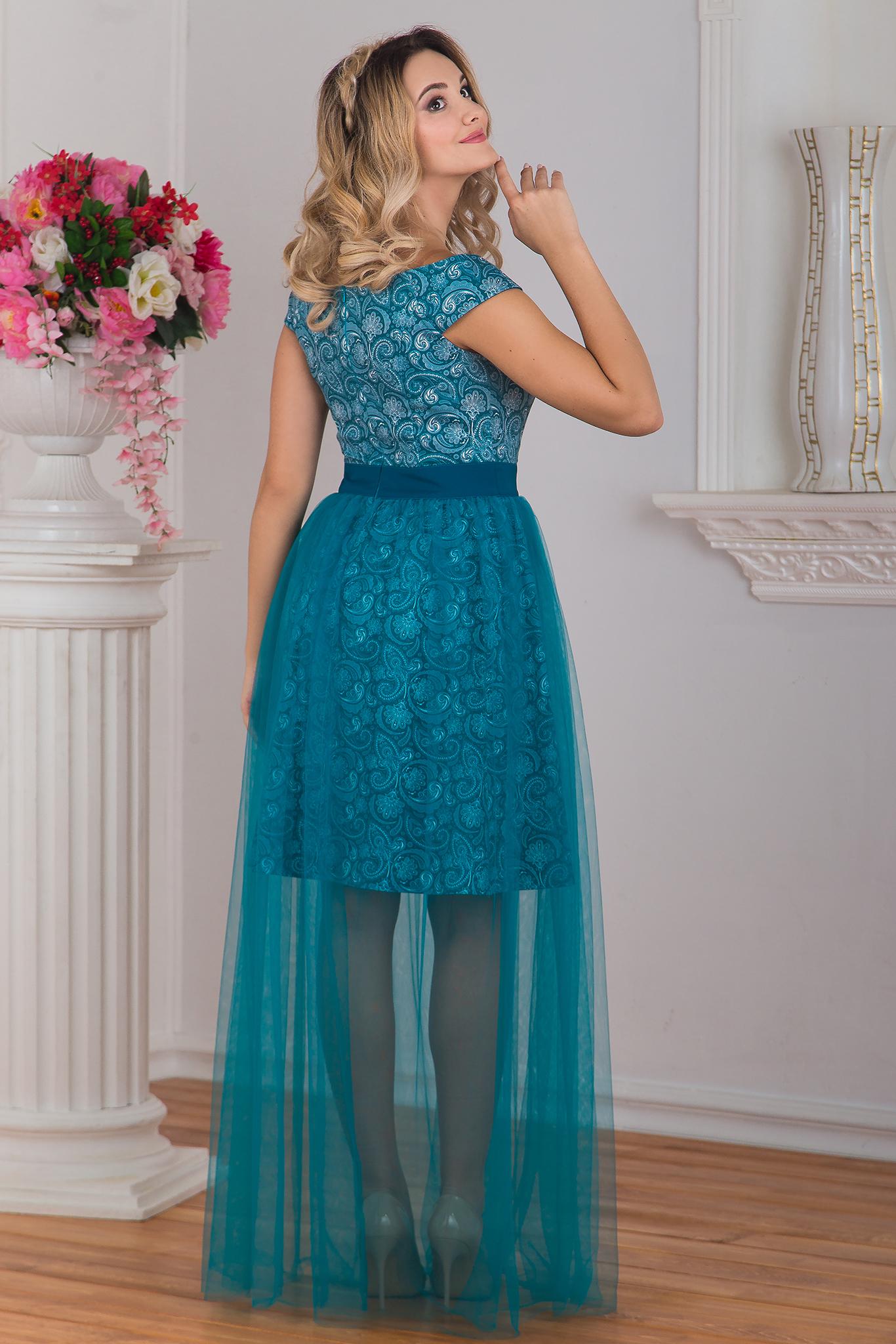 Вид сзади Платье вечернее Нефритовое