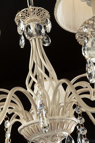 Люстра с хрусталем 3637/7 белый с золотом / прозрачный хрусталь
