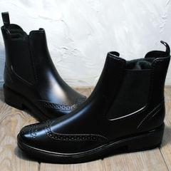 Резиновые ботинки черные женские W9072Black