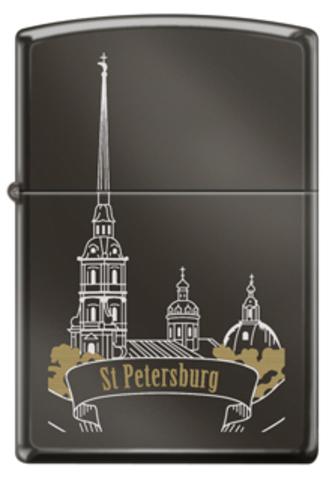 Зажигалка ZIPPO Classic Black Ice™ Петропавловская крепость ZP-150 ST PETER SKYLINE