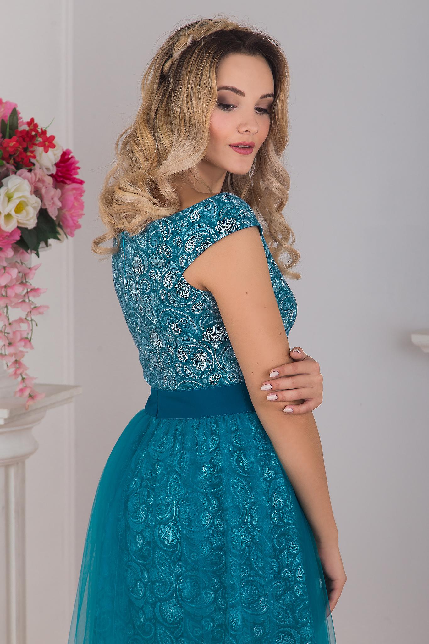 Приближенный сзади Платье вечернее Нефритовое