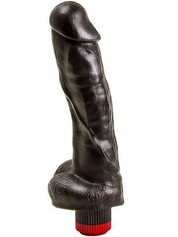 Большой чёрный вибромассажёр в форме фаллоса - 20,5 см.