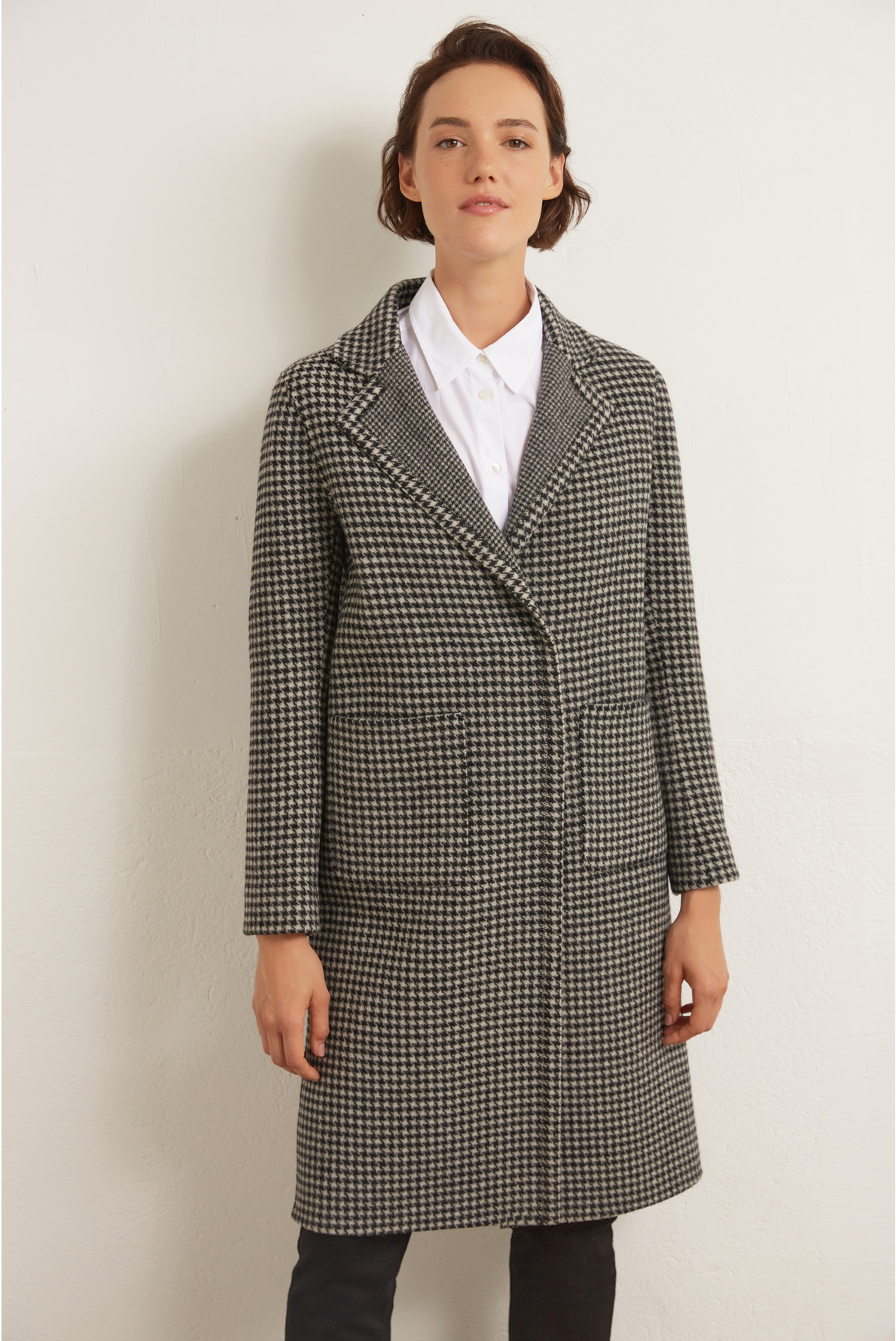 Пальто в гусиную лапку из шерсти
