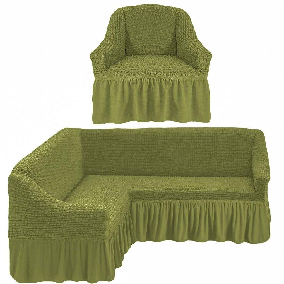 Чехол на угловой диван и кресло, олива