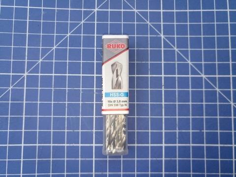 Сверло по металлу ц/x 3,8x70/43мм DIN338 h8 5xD HSS-G 118° Ruko 214038 (ВБ)