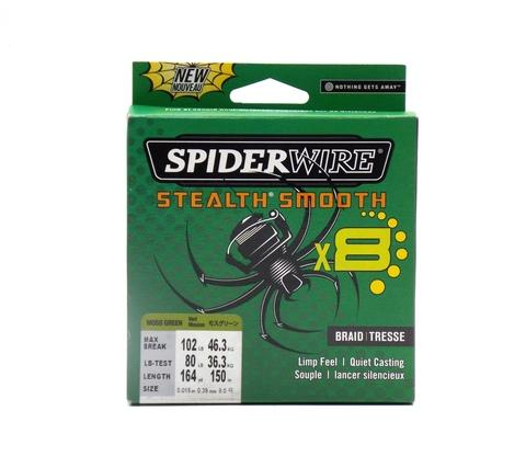 Плетеная леска Spiderwire Stealth Smooth 8 Braid Темно-зеленая 150 м. 0,39 мм. 46,3 кг. (1515591)