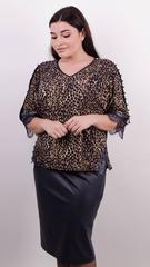 Меггі. Святковий костюм для жінок великих розмірів. Леопард беж.