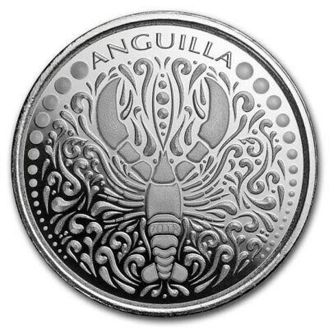 2 доллара 2018 Ангилья. Лобстер Восточные Карибы. Серебро