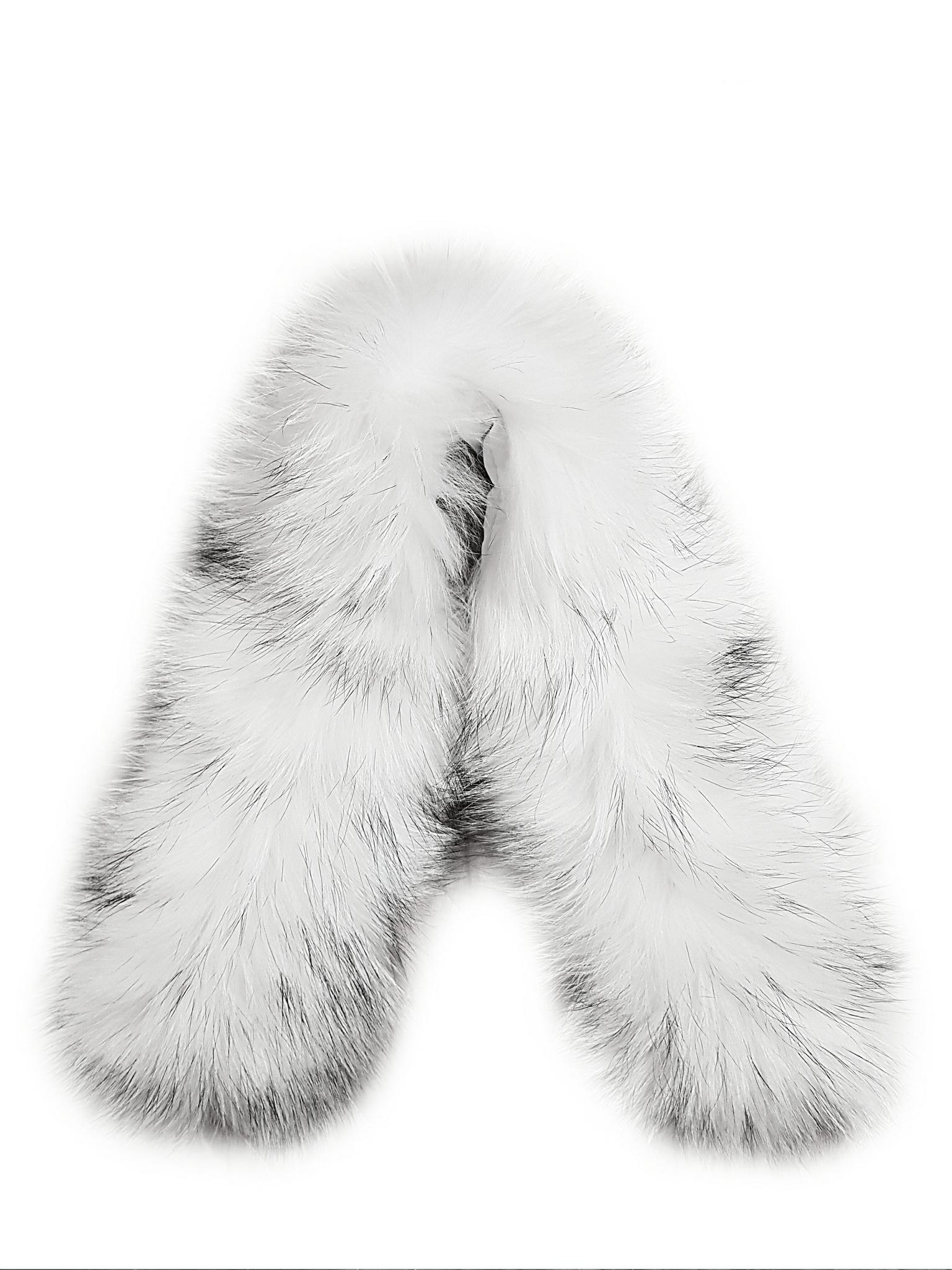 Опушка на капюшон из натурального меха енот 70см. (Белая с черными кончиками)