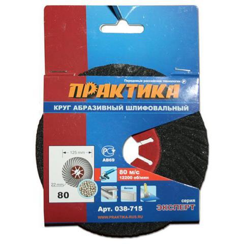 Круг абразивный торцевой ПРАКТИКА 125 х 22 мм Р 80 (1 шт)  картонный подвес (038-715)