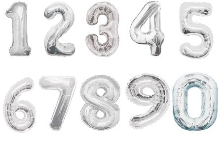 Фольгированный шар Цифра серебряная в ассортименте 40