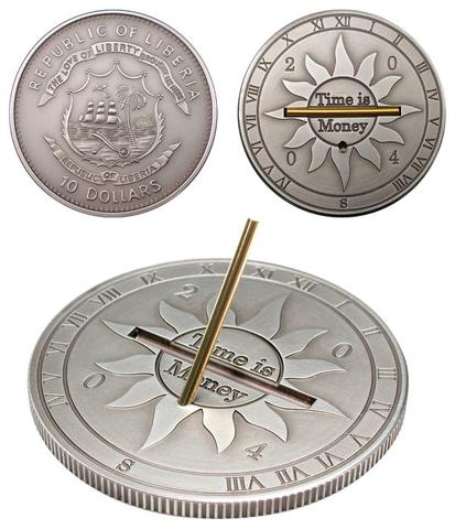 10 долларов 2004 Либерия. Монета - солнечные часы. Серебро с матовым чернением