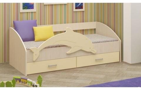 Детская кровать Дельфин-4 МДФ ваниль, 80х160